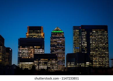 View of Canary Wharf, Isle of Dogs, London, England, United Kingdom. Shot from River Thames.