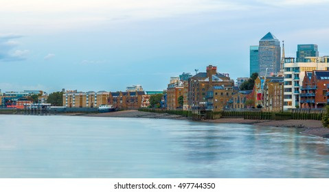 View of Canary wharf, London from river Thames