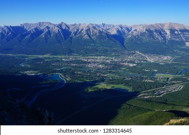 View of Canmore from the top of Ha Ling Peak,Alberta, Canada