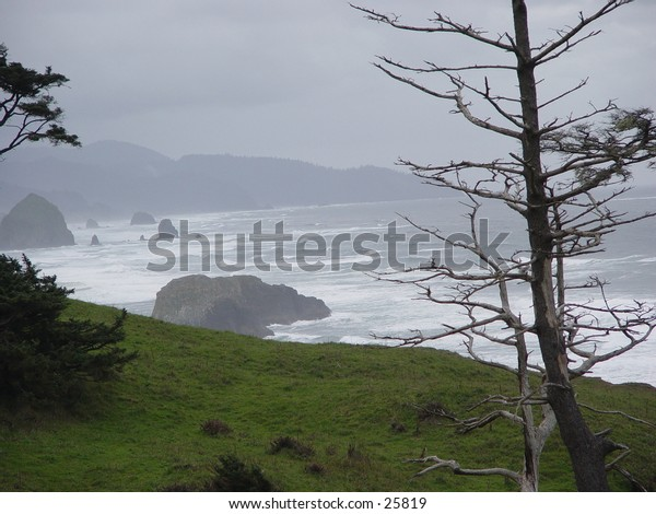 View of the Cannon Beach, OR.