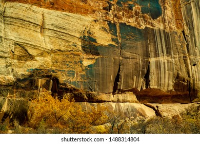 View of canyon walls along calf creek trail, Grand Staircase-Escalante National Monumentt, Utah
