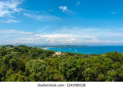 View from Cap Camarat on the coastline of Pampelonne near Ramatuelle in the Department Var of the province Provence-Alpes-Cote d Azur