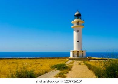 View of Cap de Barbaria lighthouse, Formentera, Balearic Islands, Spain