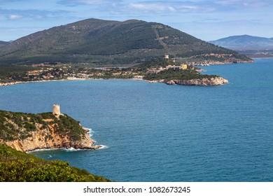 "View from Cape ""Capo Caccia"" on the north coast of Sardinia, Italy"