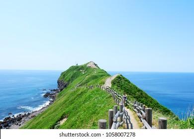 View cape of Kamui / Shakotan in summer Hokkaido, Japan