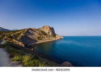 View of cape Kapchik by Golitsyn trail near the village Noviy Svet in the Crimea in the summer