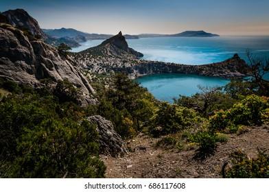 A view of the cape Kapchik in the Crimea. Mountain seashore in Sudak