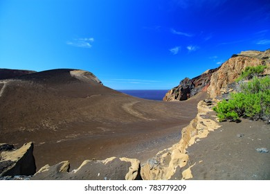 view of Capelinhos volcano on the island of Faial in the Azores