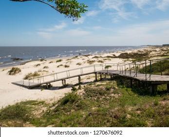 View of Capilla Beach (Praia da Capilha) over Lagoa Mirim lake, in Taim, Brazil.