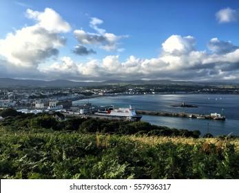 View of the capital of Isle of Man. Douglas city, Isle of Man. View from the above. City view Isle of Man landscape. UK tourists location Scenery destination. Scenery landscape Colorful background