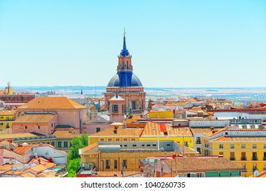 View of the capital of Spain-beautiful city Madrid from a bird's eye view. Top point is Museum of the Cathedral of the Almudena.