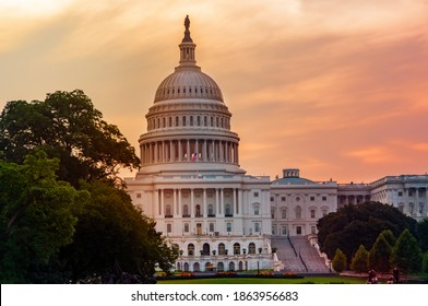 View of Capitol Hill in Washington DC in summer at sunset