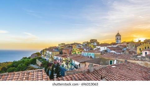 View of Capoliveri village, Elba island, Tuscany.