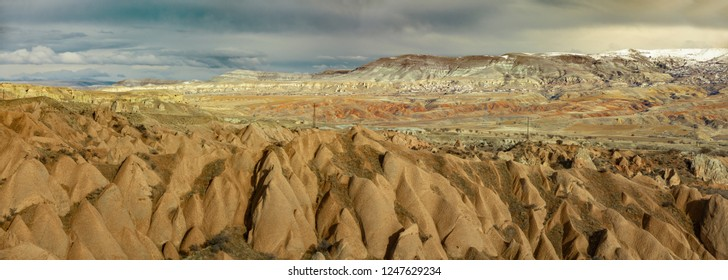 View from Cappadocia region with hills and rock formations in Turkey