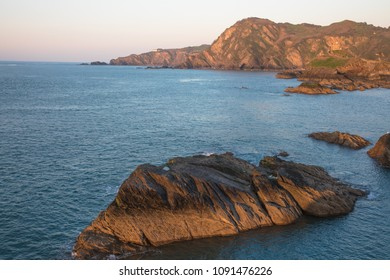 View from the Capstone Hill towards Beacon Point at sunset, Ilfracombe, Devon, UK