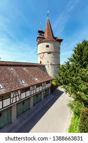 View of the Capuchin Tower of 16th century. Capuchin monastery of St. Anna, town of Zug, Switzerland.
