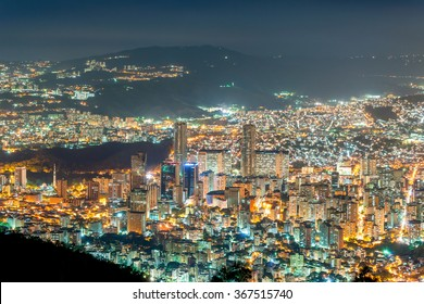 View of Caracas city, at night, from a lookout in Avila mountain