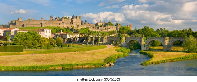 View of Carcassonne in a summer evening