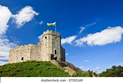 View of Cardiff Castle in Cardiff, Wales.