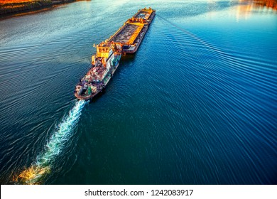 view of cargo ship sailing