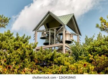 View of Carillon Bell Tower in the Chicago Botanic Garden, Glencoe, Illinois, USA
