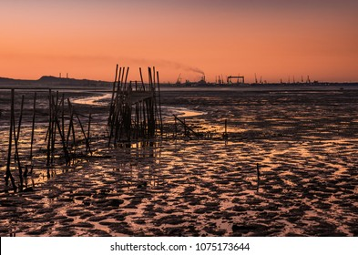 View of Carrasqueira palaffitic port in Portugal at sunset
