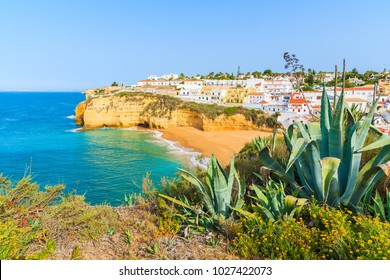 View of Carvoeiro town with beautiful beach, Algarve, Portugal