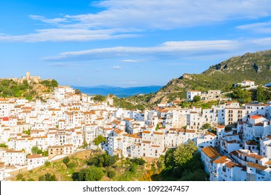 View of Casares mountain village with white houses at early morning, Andalusia, Spain