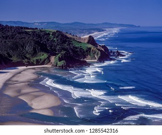 View from Cascade Head looking south toward Lincoln City, on the Oregon coast