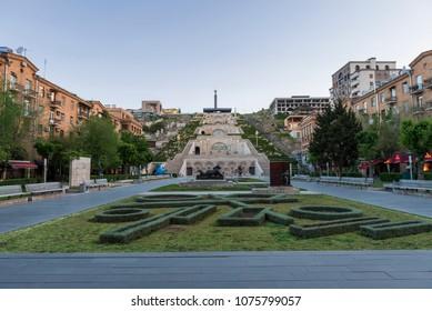 view of cascade stairs in Armenia Yerevan
