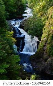 A view of the cascades of the Reekie Linn Waterfalls in Glenisla, Perthshire
