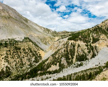 View of Casse Deserte, rocky zone around the road climbing to Col d'Izoard in French Alps
