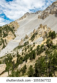View of Casse Deserte, rocky zone around the road climbing to Col d'Izoard in French Alps, paradise for bikers.