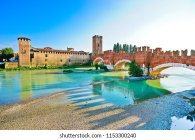 View of the Castel Vecchio Bridge connected to Castelvecchio Castle along Adige river in Verona, Italy.