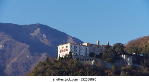 View of Castelbrando, once a feud of the Vittorio Veneto diocese, and the surrounding hills.