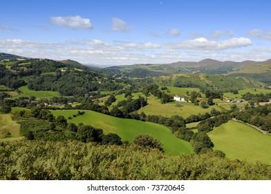 View from Castell Dinas Bran above Llangollen in Denbighshire Wales UK