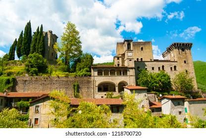 View of Castello della Verrucola in Fivizzano, Massa e Carrara, Tuscany, Italy