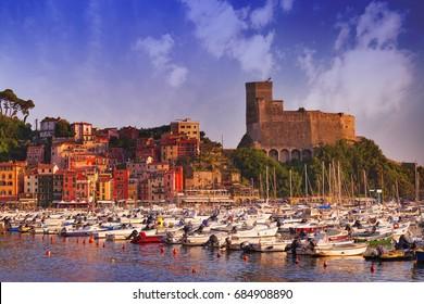 View of Castello di Lerici and Golfo di Lerici. Beautiful small city Lerici, Italy, Liguria.