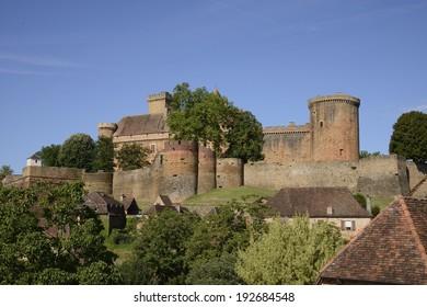 View of the Castelnau castle near Bretenoux in France