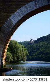 A view of Castelnaud-La-Chappelle from the Dordogne River, Perigord, France