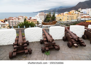 View from the Castillo de la Virgen in Santa Cruz de La Palma, Spain, with cannons in the foreground.