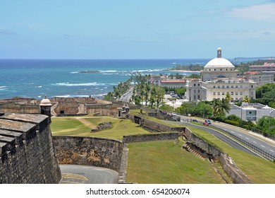 View from the Castillo de San Cristobal, looking east at San Juan, Puerto Rico