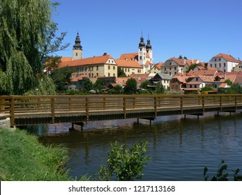 View of castle and bridge in Telc, Czech republic.