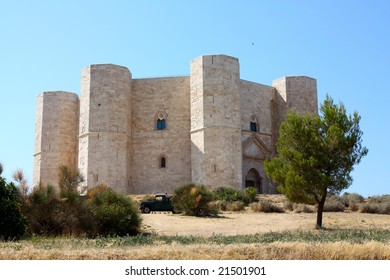 A view of the castle in Castel del Monte, Italy
