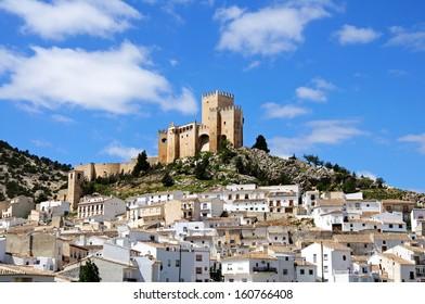 View of the castle (castillo de los Fajardo) and town, Velez Blanco, Almeria Province, Andalucia, Spain, Western Europe.