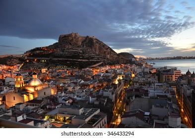 View of the castle in the city of Alicante Spain.