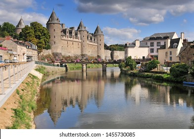 View of the castle of the city of Josselin in Bretagne France.
