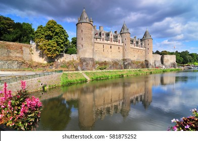 View of the castle of the city of Josselin in Bretagne, France.