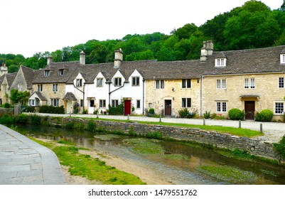 View of Castle Combe from the river - England