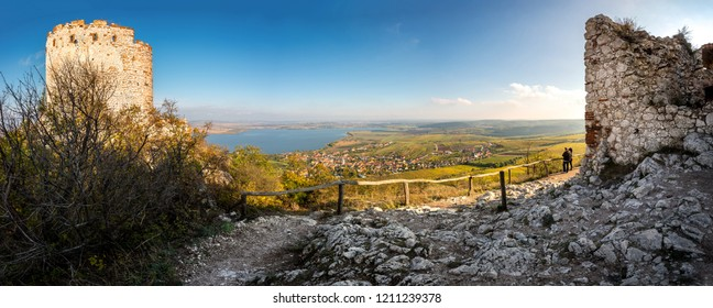 View from Castle Devicky to Pavlov, village under hill Devin and Nove Mlyny reservoirs (dam), Palava, Mikulov region, South Moravia, Czech Republic